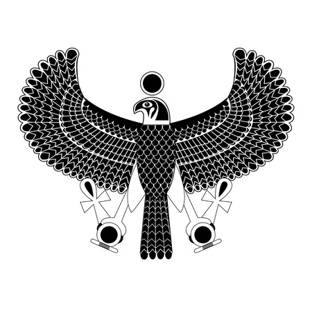 god's: Black and white ancient egyptian symbol of Horus the falcon god