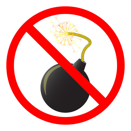 illegal zone: No Bomb or No Weapon Sign Illustration