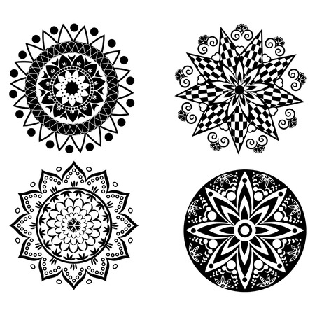mongoloid: Set of four black and white mandala ornaments