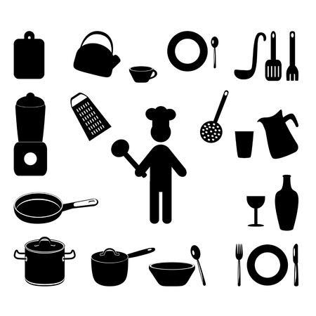 Cooking Icons Set with chef Vector