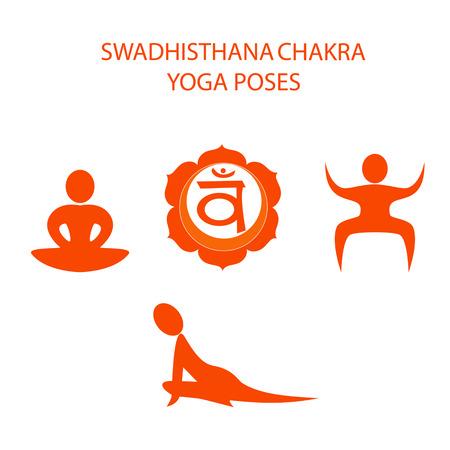 Yoga poses for Swadhisthana chakra activation Vettoriali
