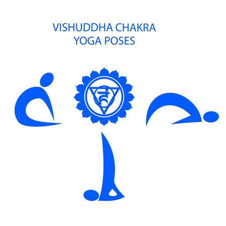 Yoga poses for Vishuddha chakra activation Illustration