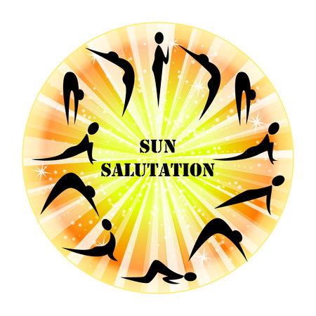 salutation: Illustration of yoga exercise Sun Salutation Surya Namaskara. Illustration