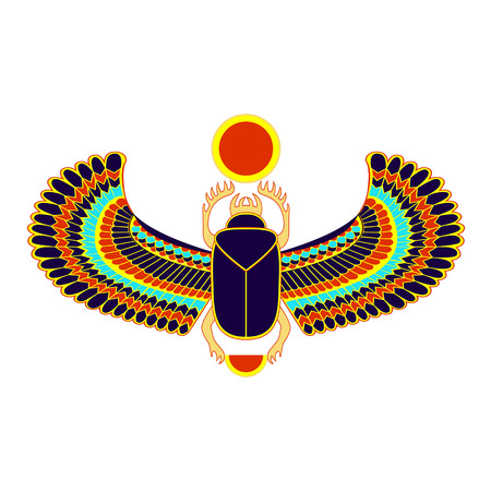scarab: Colorful the Egyptian sacred bug a scarab a symbol of the sun