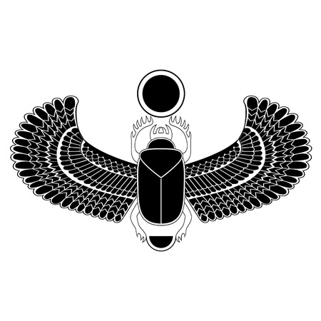 scarab: Black and white the Egyptian sacred bug a scarab a symbol of the sun