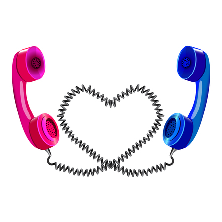 long distance: Long distance love, two telephone handsets Illustration