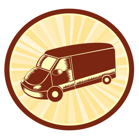 woodblock: Illustration of van done in retro style.