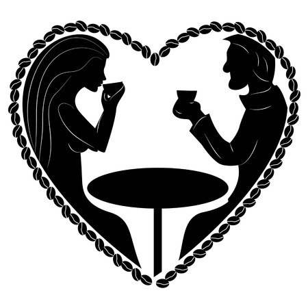 woman drinking coffee: Black silhouette of man and woman drinking coffee, heart shape