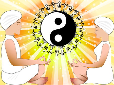 man meditating: Meditating man and woman with yin yang symbol