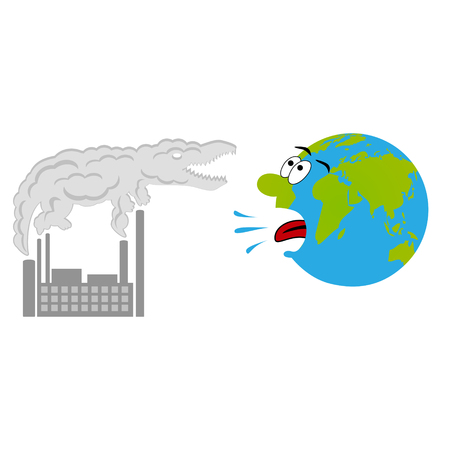 gasp: Smoky factory smoke-cloud in crocodile shape and cartoon scared earth. Pollution concept. Illustration