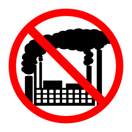 smokestack: Forbidden sign with factory building image, isolated on white