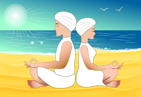 man meditating: Man and woman meditating on the sand beach Illustration