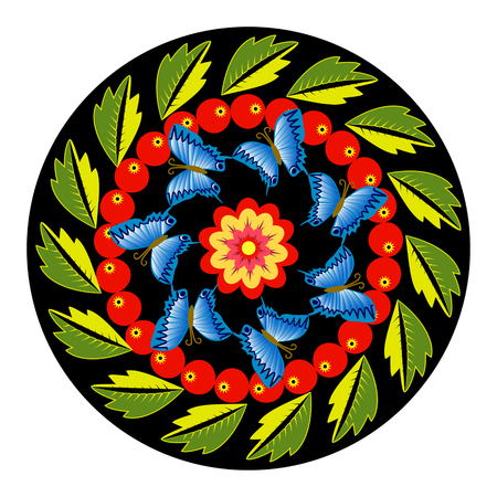 attern: Colorful round ornament with butterflies, leaves and berries