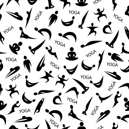 Yoga background, seamless pattern, silhouettes in yoga poses
