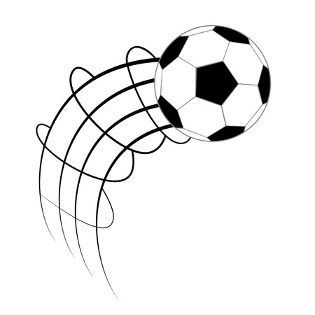 footy: Soccer ball in motion isolated on white background
