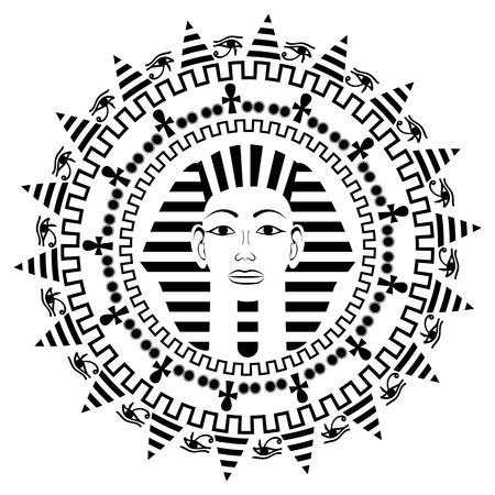 tutankhamen: Circle mandala with Pharaoh Tutankhamun
