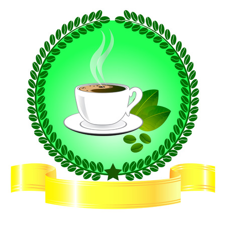 Cup of green coffee with gold ribbon