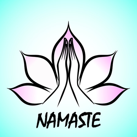 Indian womans hand greeting posture of namaste inside of lotus flower Vectores