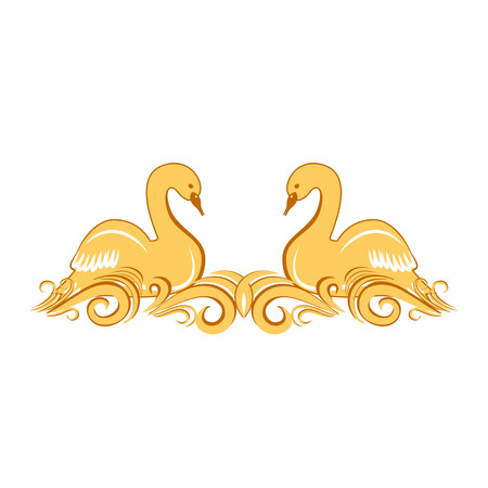 swans: Ornament with two swans on the waves