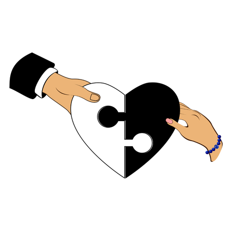 compatibility: Man and woman gather puzzle in the form of heart ying yang symbol