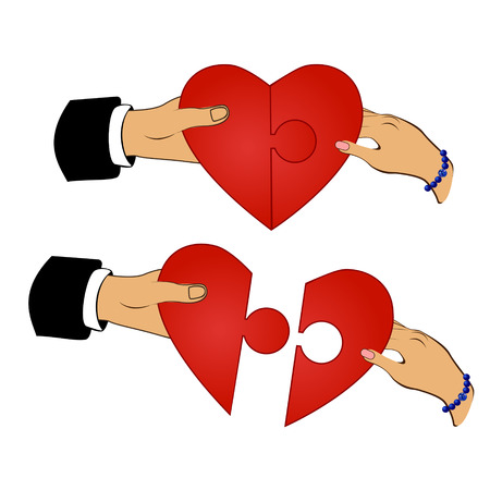 to gather: Man and woman gather puzzle in the form of heart