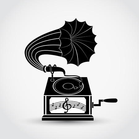 Gramophone icon on gray background with shadow. Vector illustration.
