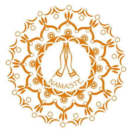 simple border: Praying hands with decorative indian ornament mandala. Namaste mudra.