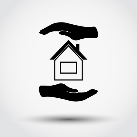 home value: Hands holding home Illustration