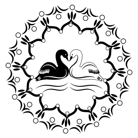 swans: Round ornament with two black and white swans