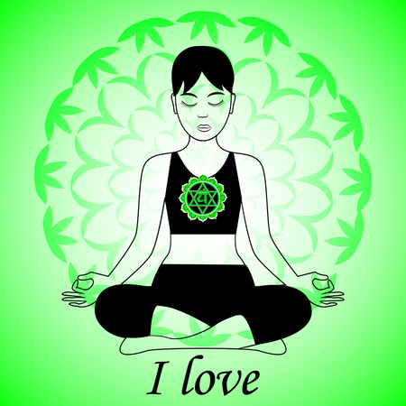 chakra: Meditating women. Anahata chakra activation. I love. Illustration