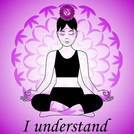 Mediteren vrouwen. Sahasrara chakra activering. Ik begrijp het. Stock Illustratie