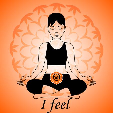 by feel: Meditating women. Swadhisthana chakra activation. I feel.