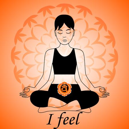 Mediteren vrouwen. Swadhisthana chakra activering. Ik voel. Stock Illustratie