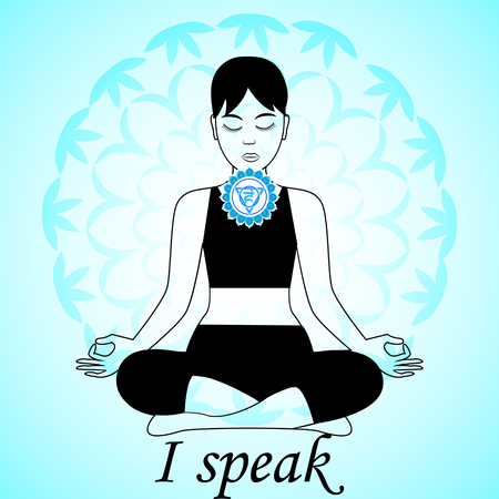 chakra: Meditating women. Vishuddha chakra activation. I speak.