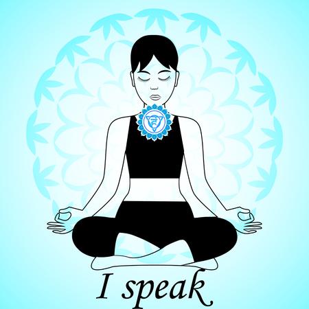 Mediteren vrouwen. Vishuddha chakra activering. Ik spreek.