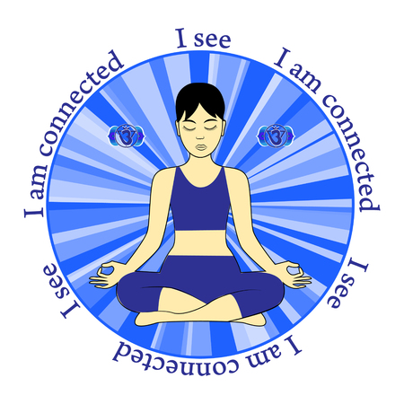 see: Meditating women. Ajna chakra activation. I see. I am connected. Illustration
