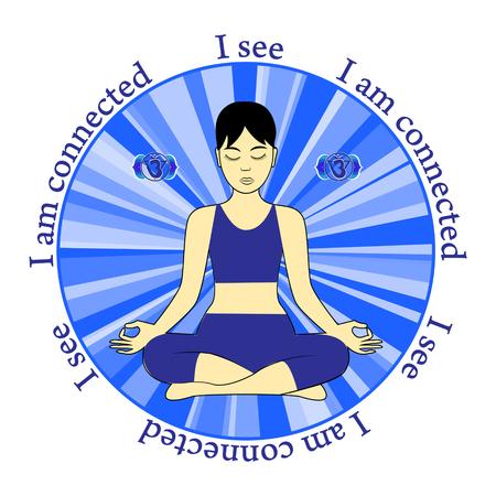 ajna: Meditating women. Ajna chakra activation. I see. I am connected. Illustration