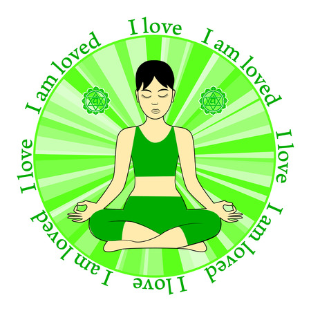anahata: Meditating women. Anahata chakra activation. I love. I am loved.