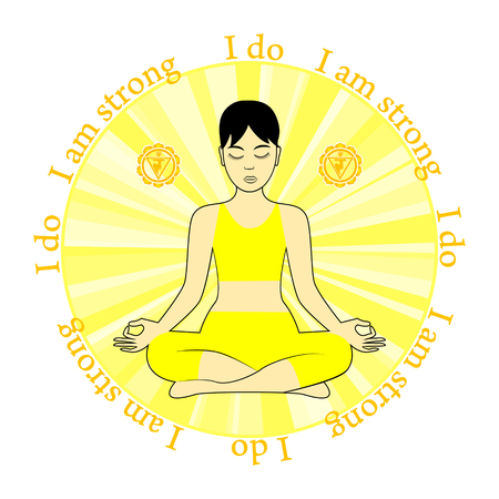 chakra: Meditating women. Anahata chakra activation. I do. I am strong. Illustration