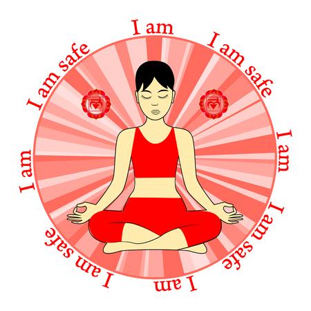 Meditating women. Muladhara chakra activation. I am. Iam safe.