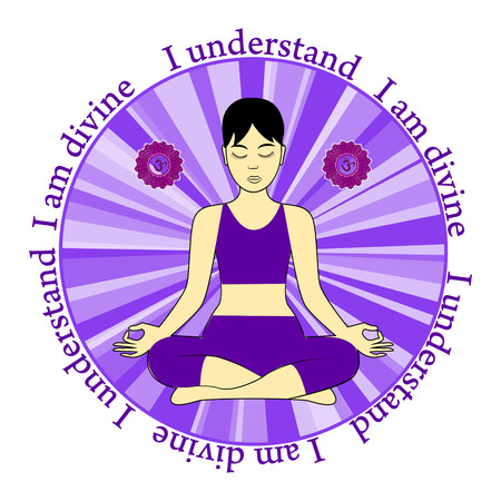 Meditating women. Sahasrara chakra activation. I understand. I am divine.