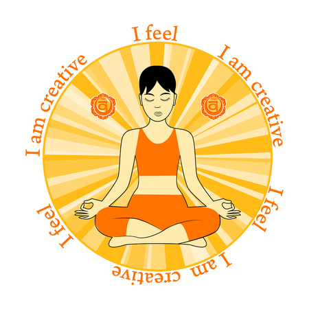 swadhisthana: Meditating women. Swadhisthana chakra activation. I feel. I am creative.