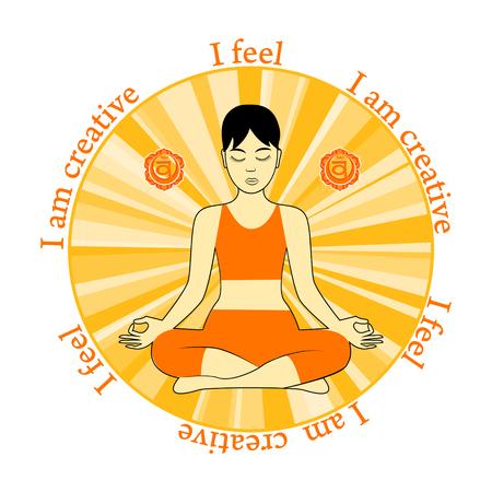 Meditating women. Swadhisthana chakra activation. I feel. I am creative.