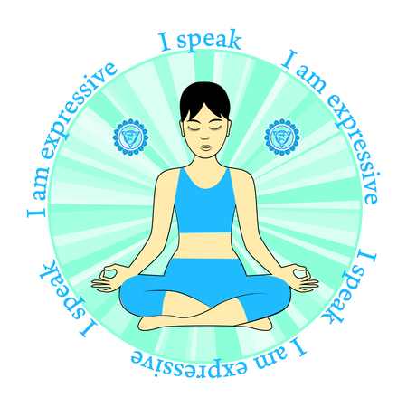 Mediteren vrouwen. Vishuddha chakra activering. Ik ben speak.I expressief. Stock Illustratie