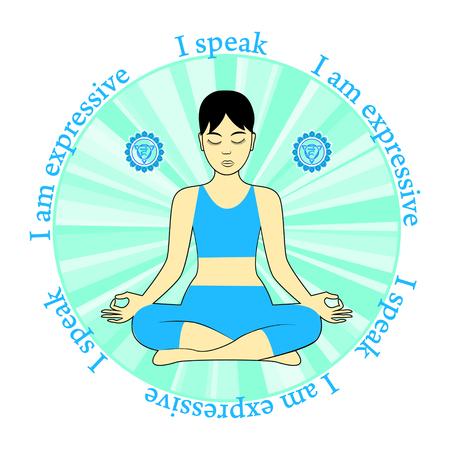 Meditating women. Vishuddha chakra activation. I speak.I am expressive.