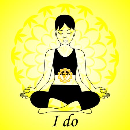 Mediteren vrouwen. Anahata chakra activering. Ik doe. Stock Illustratie