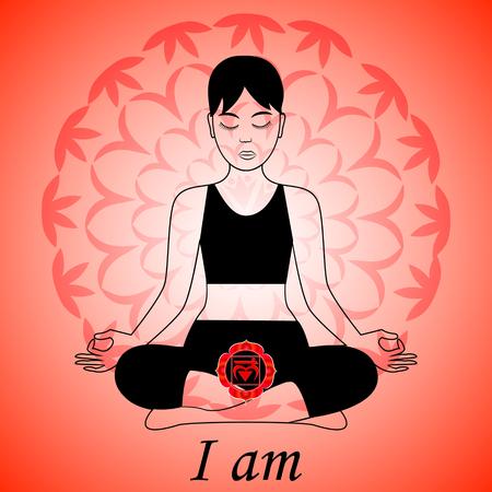 Meditating women. Muladhara chakra activation. I am. Vettoriali