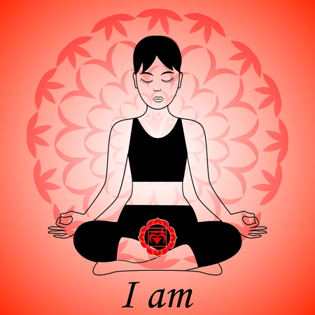 muladhara: Meditating women. Muladhara chakra activation. I am. Illustration