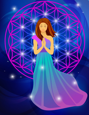 illustration of woman praying on abstract blue background Illustration