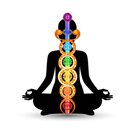 Woman black silhouette in yoga position with the colorful symbols of seven chakras and kundalini energy